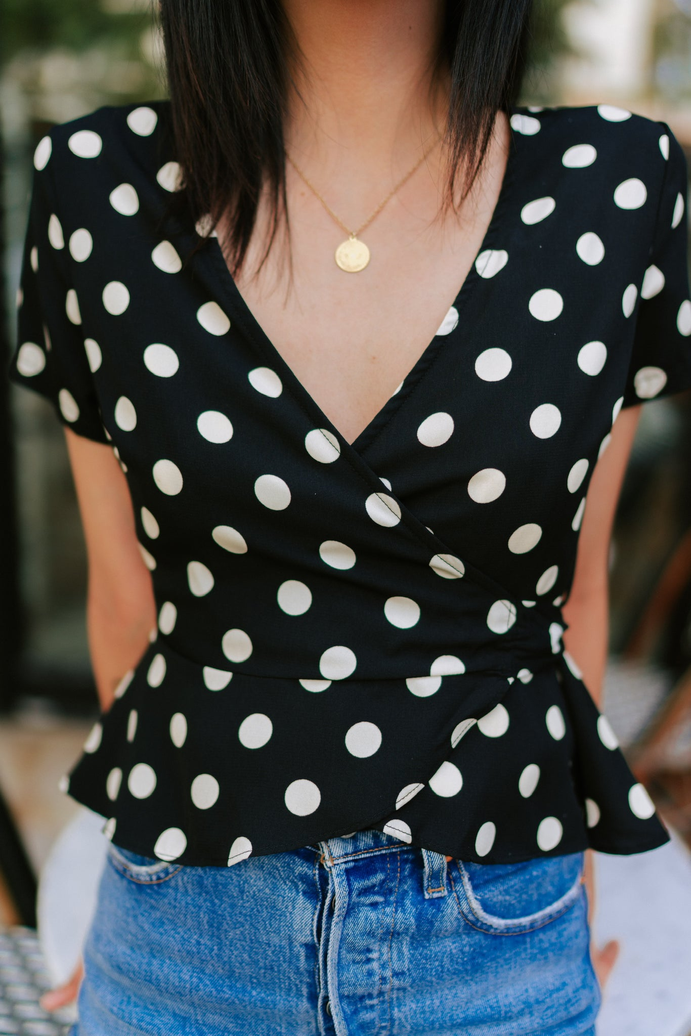 Angelica Wrap Top - Black Dot