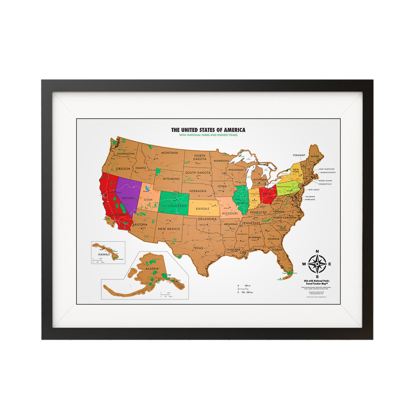 Landmass Travel Gifts And Travel Accessories Scratch Off World Map - Us travel tracking map