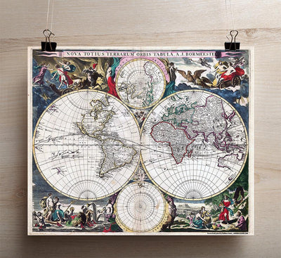 1600's Map of The World - 20 x 24""