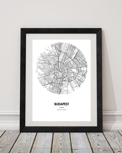 "Budapest Map Poster - 18 by 24"" City Map Print"