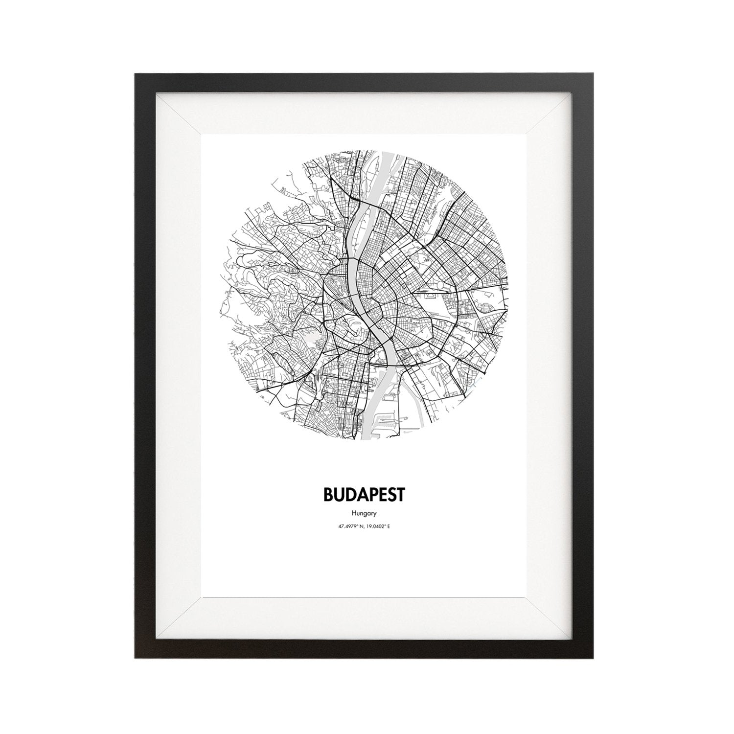 Budapest Map Poster - 18 by 24