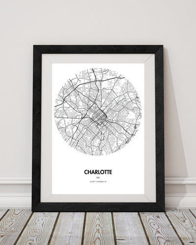 "Charlotte Map Poster - 18 by 24"" City Map Print"