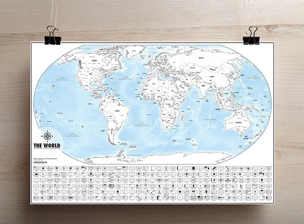 Buy Color-Me World Map Outline Poster - Color In Travel Tracker