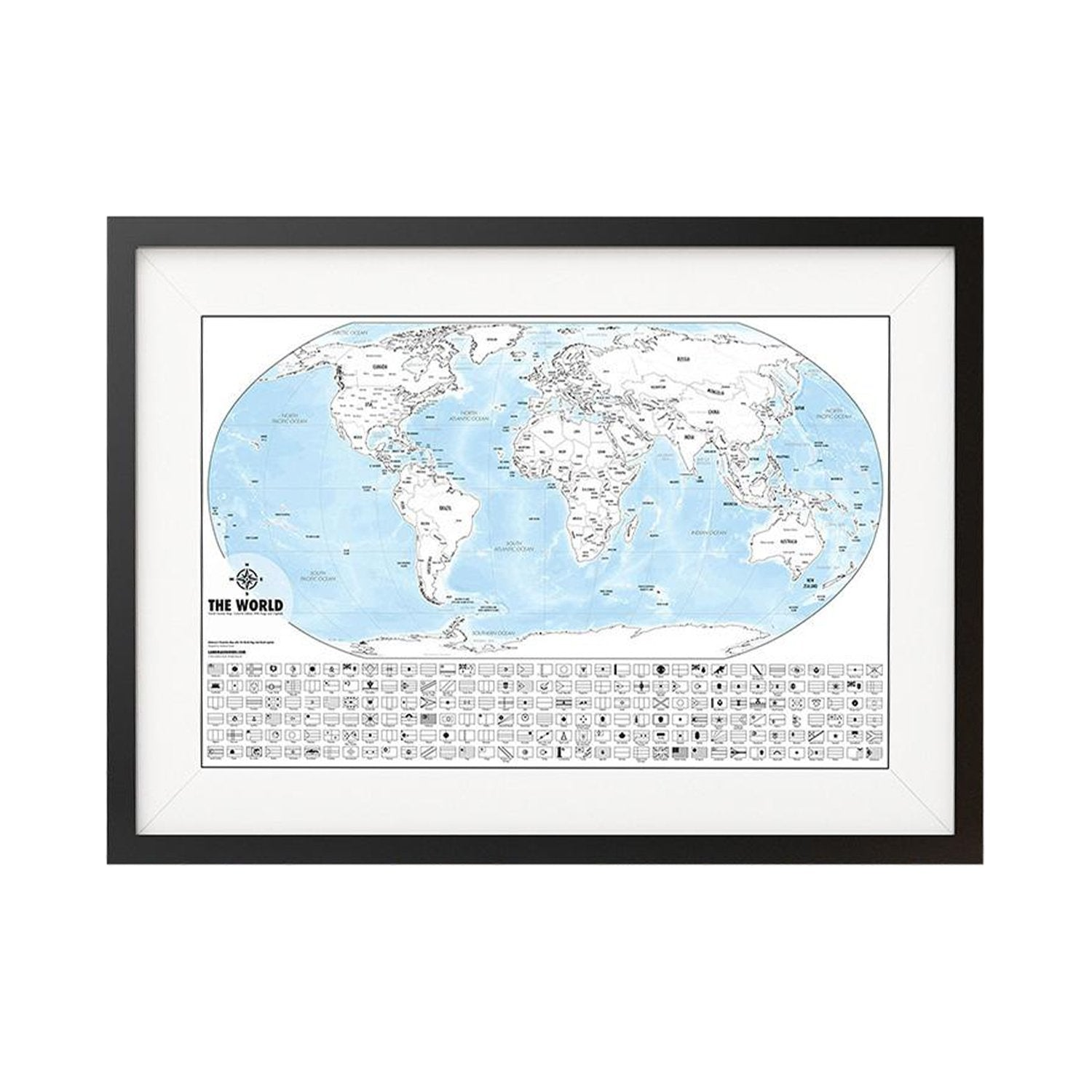Color-Me World Map Outline Poster- 24 X 36\