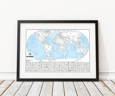 Color-Me World Map Outline Poster- 24 X 36""