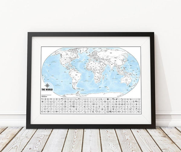 Color-Me World Map Outline Poster