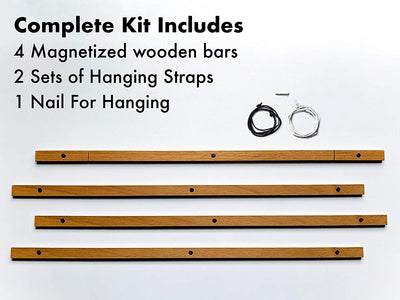 "Magnetic Wooden Hanger Frame For Maps, Posters, Prints, Photos, Artwork - 18"" Wide"