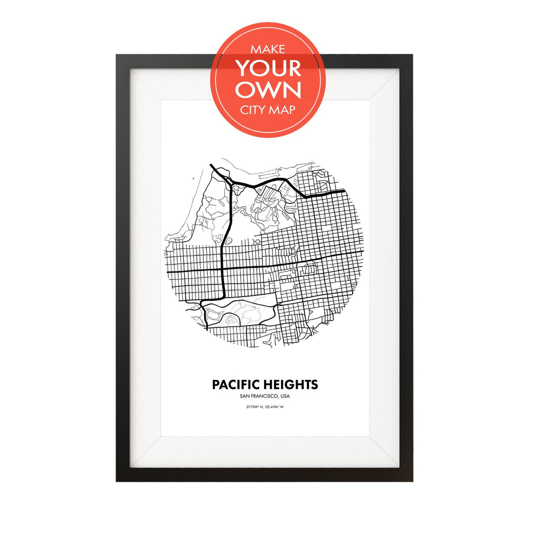 Black and white map poster