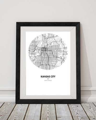 "Kansas City Map Poster - 18 by 24"" City Map Print"