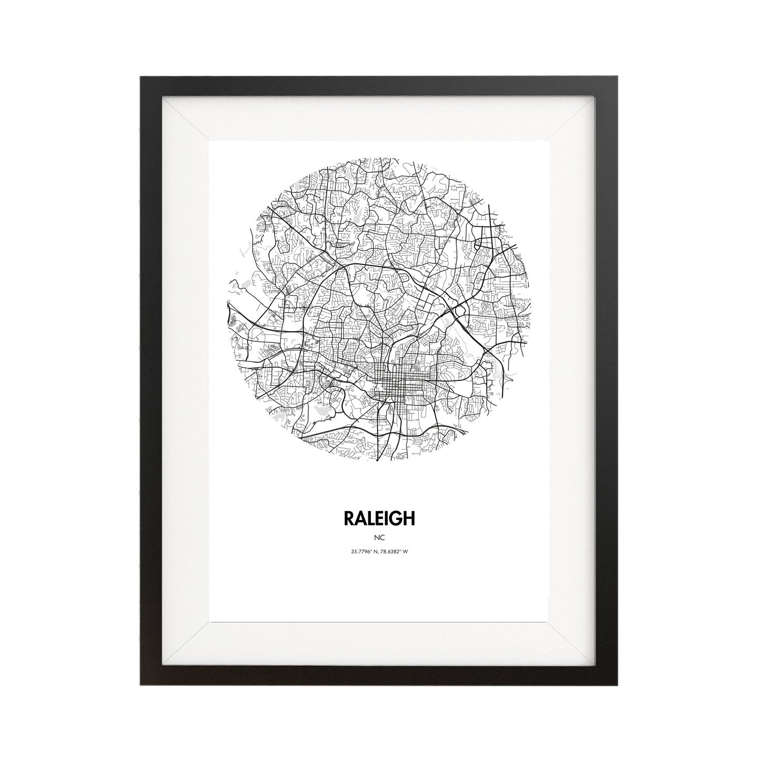 Buy Raleigh Map Poster - 18 by 24 inch Map Print Online on