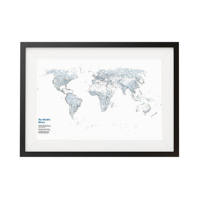 "Rivers of The World - 20x30"" Map Print"