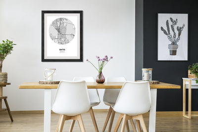 "Seattle Map Poster - 18 by 24"" City Map Print"