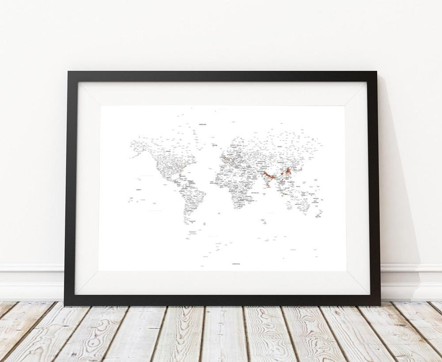 Black and white world map prints typography world map typography world map poster gumiabroncs Gallery