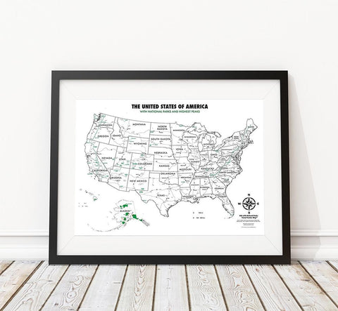 USA National Parks - Color In Map