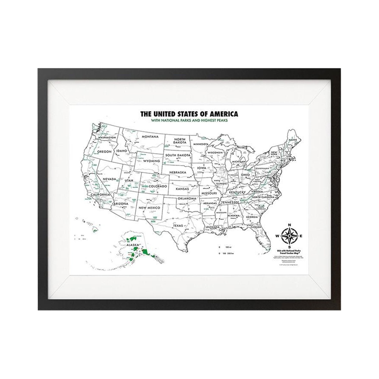 Buy USA National Parks Color In Map Online Landmass - Usa map buy