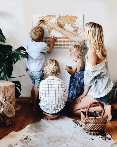 Scratch Off World Map With Gold Foil - World Travel Tracker Map ® - World Map Poster - 17 (h) x 24 (w) Inches - Travel Gift