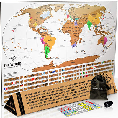 Scratch Off Map Of The World With Frame - White & Gold -  Scratch Off World Map Poster - 17 (h) X 24 (w) Inches - Includes 24 Inch Wide Hugger Frame - The Gift Travelers Want
