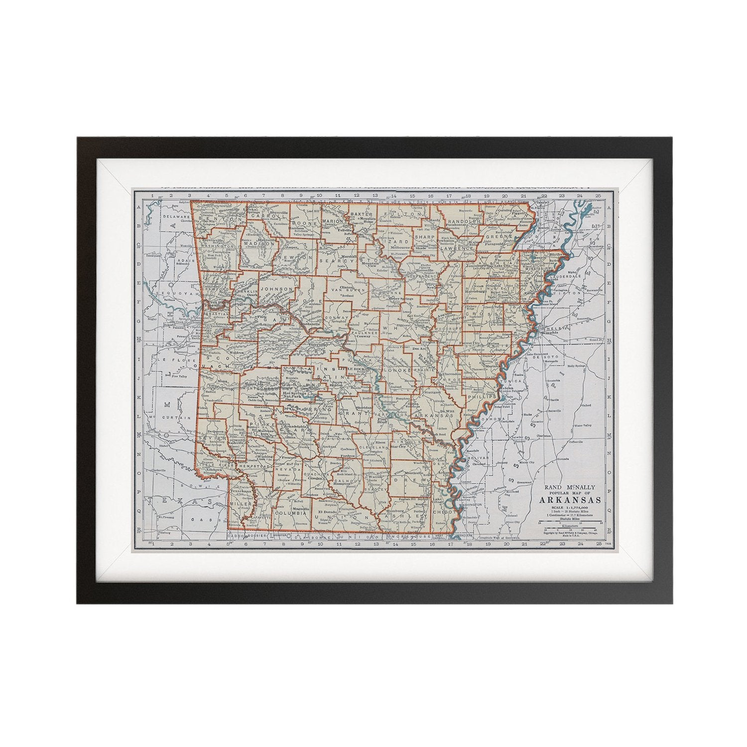 photograph relating to Printable Map of Arkansas referred to as Arkansas Classic Map Poster - 18 by means of 24 inch Typical Map Print