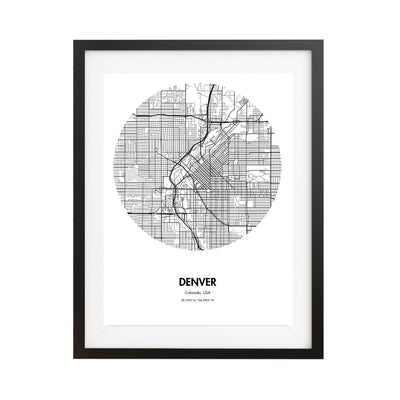 Denver Map Poster - 18 by 24 inch City Map Print