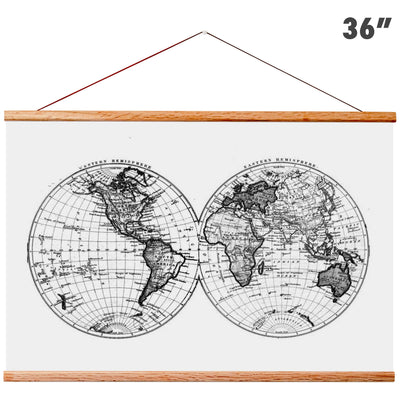 "Magnetic Wooden Hanger Frame - Hanger Frame For Maps, Posters, Prints, Artwork - 36"" Wide"