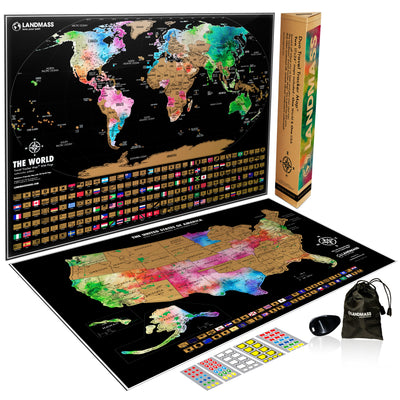 "Scratch Off Map World + United States Posters - Two 24x17"" Travel Tracker Maps"