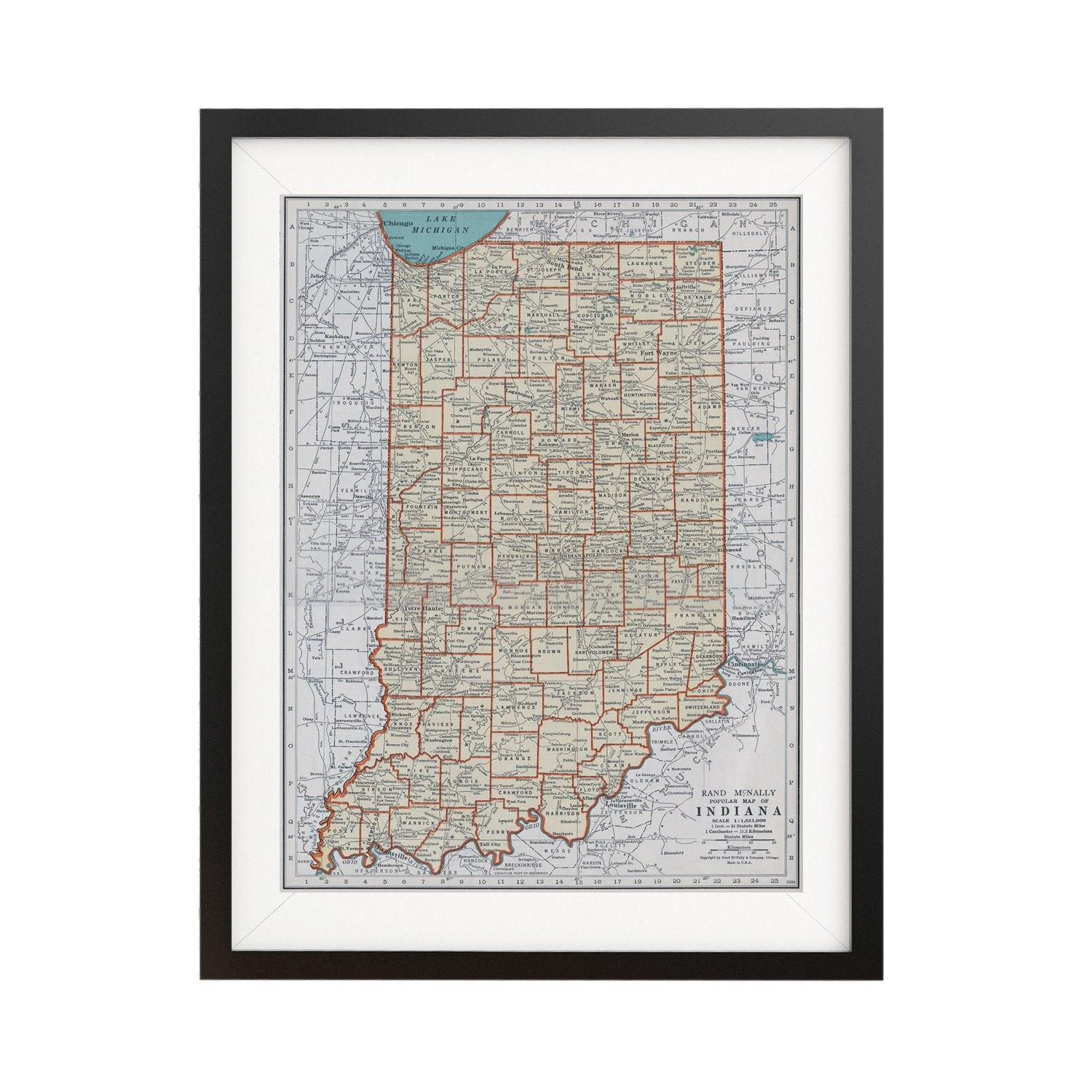 photo about Printable Map of Indiana titled Indiana Classic Map Poster - 18 via 24 inch Classic Map Print