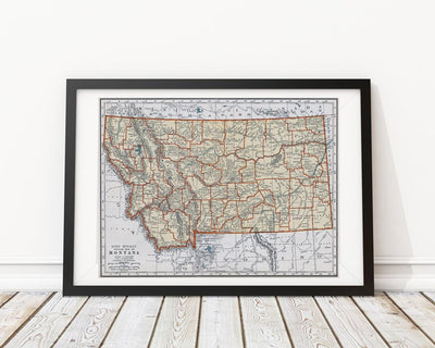 Montana Vintage Map Poster - 18 by 24 inch Vintage Map Print