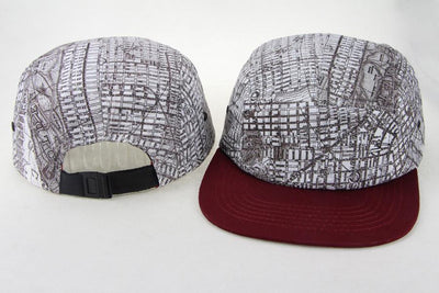 San Francisco Map Hat - San Francisco Hat - SF Hat - Vintage Map Hat  - Black And White With Maroon Brim