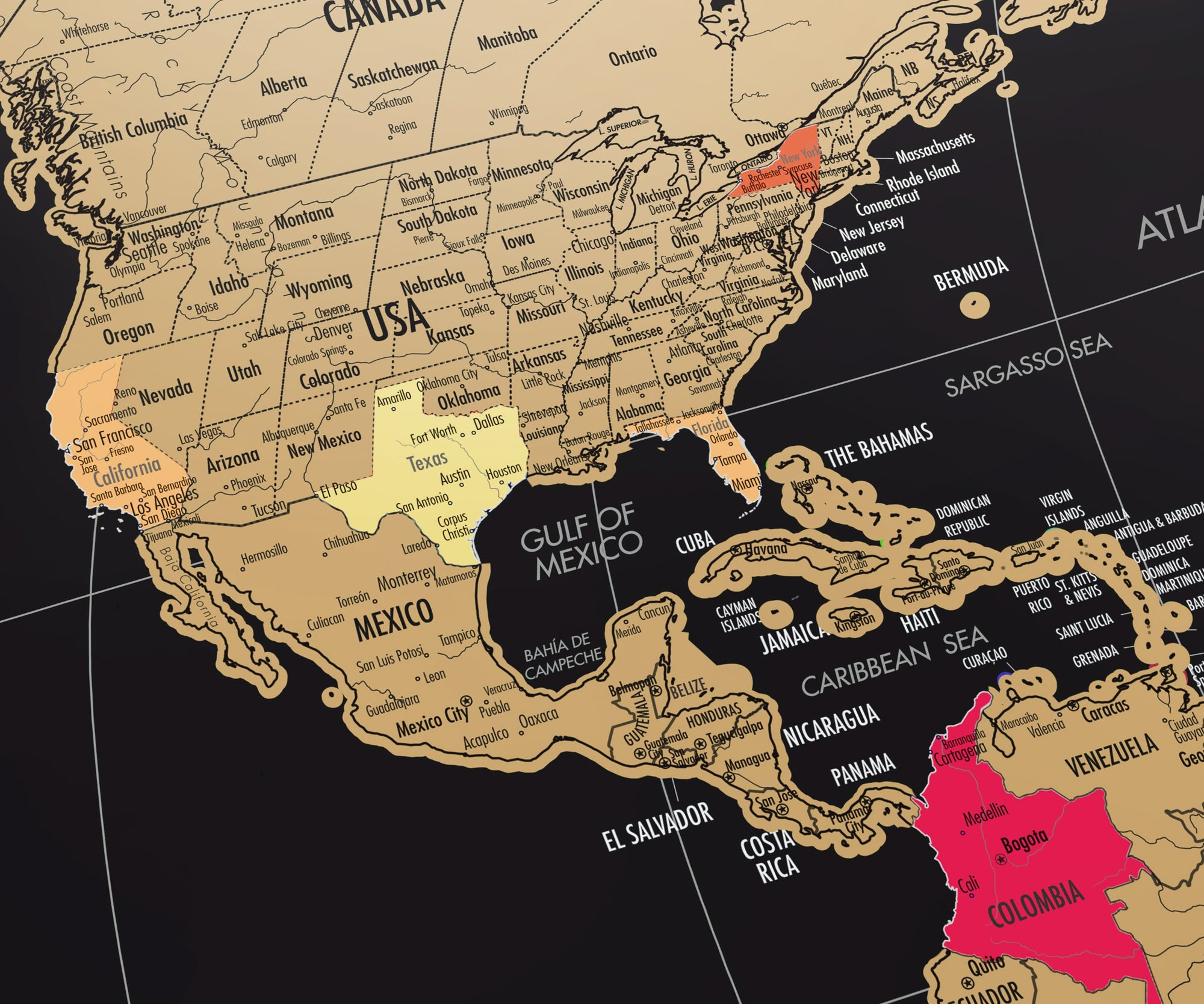 Extra Large Scratch Off World Map - Black & Gold World Travel Travel ...