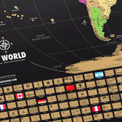 Scratch Off World Map  - Black & Gold - Extra Large -  24 (h) x 36 (w) Inches - Made In The USA - Excellent Gift For Travelers