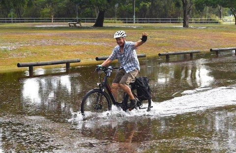 Riding electric bikes in the rain