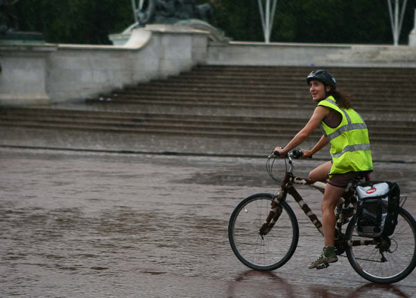 Safe riding in wet weather with high vis