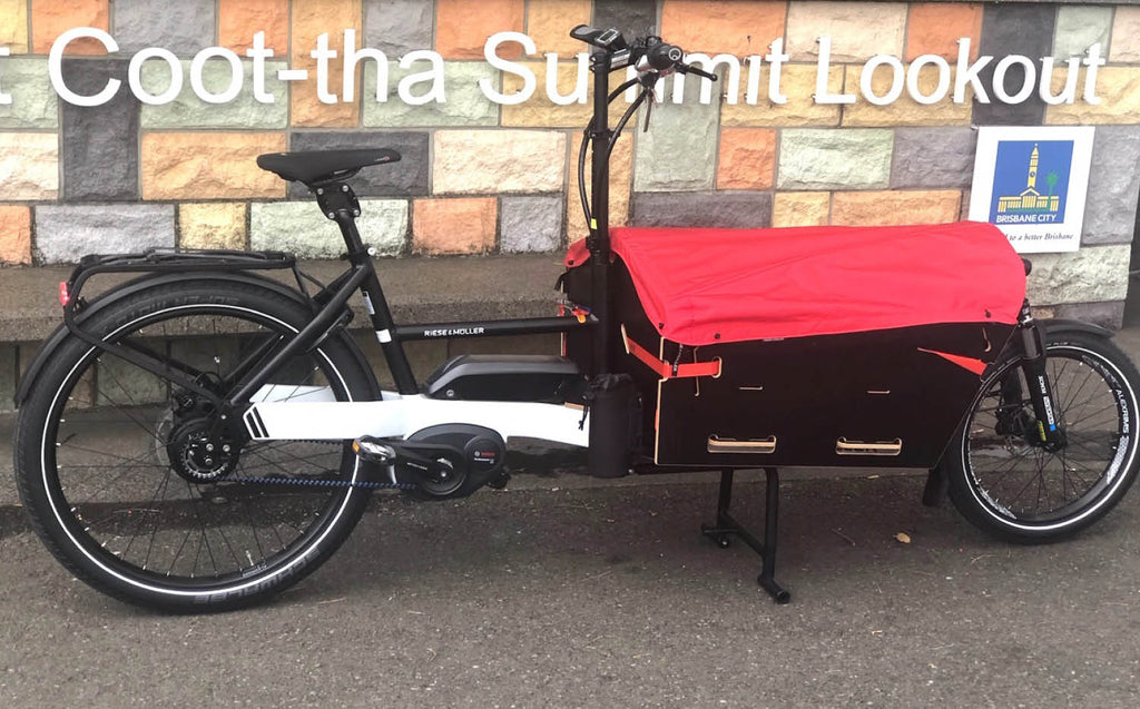 Riese & Muller Packster 60 cargo ebike at top of Mt Coottha Brisbane