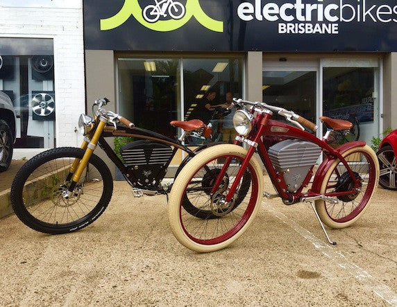 Vintage Electric Tracker and Vintage Electric Scrambler at Electric Bikes Brisbane Milton