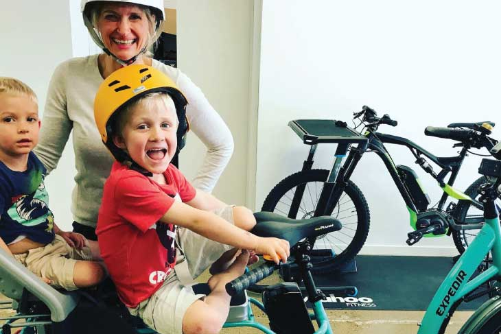 EBB Customer - Mum on Ebike with Kids