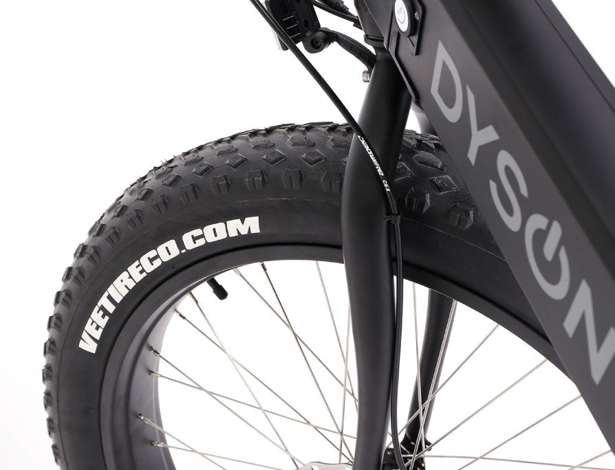 Dyson Thredbo Electric Fat Bike - tyre with logo
