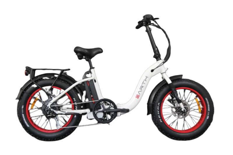 "Earth Ant E-bike 4"" Folding - White / Red"