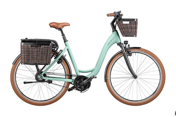 Riese & Müller Swing Vario Urban EBike, Salvia Matt with front & rear baskets (extra)
