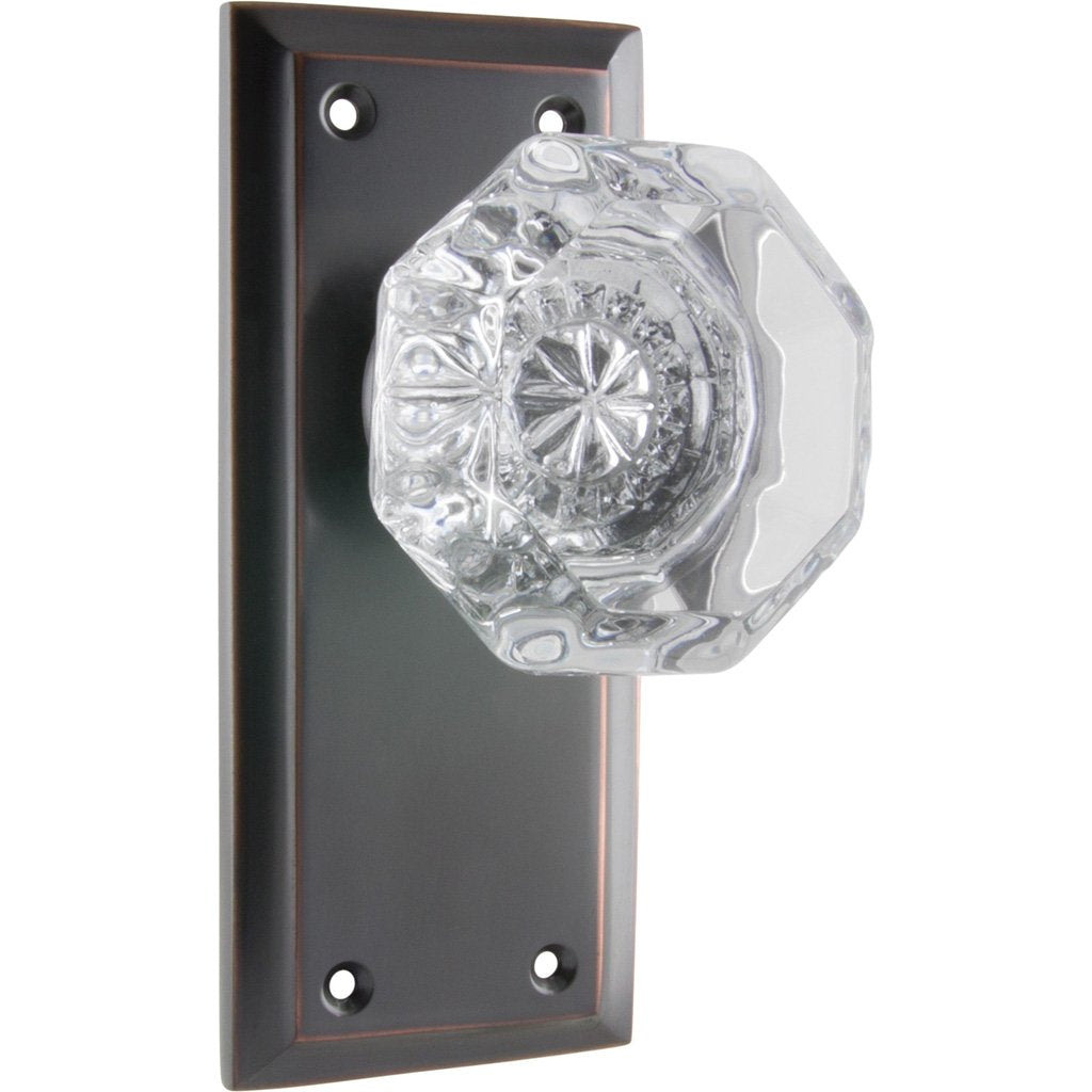Milton Glass Knob on 125mm Rectangular Plate (Door Handle Set)
