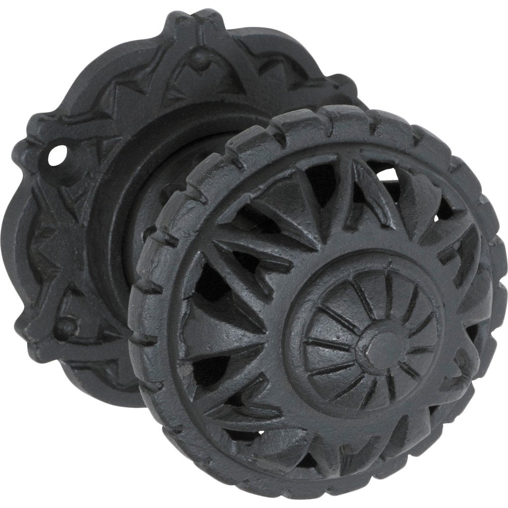 Iron Filigree Knob on Rose (Door Handle Set)