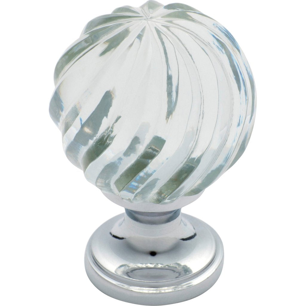 Cupboard Knob Glass Fluted Swirl
