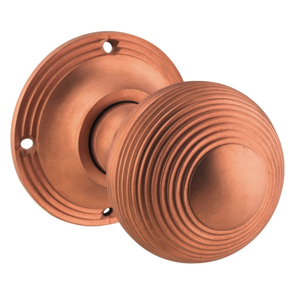 Reeded Knob on Rose (Door Handle Set)
