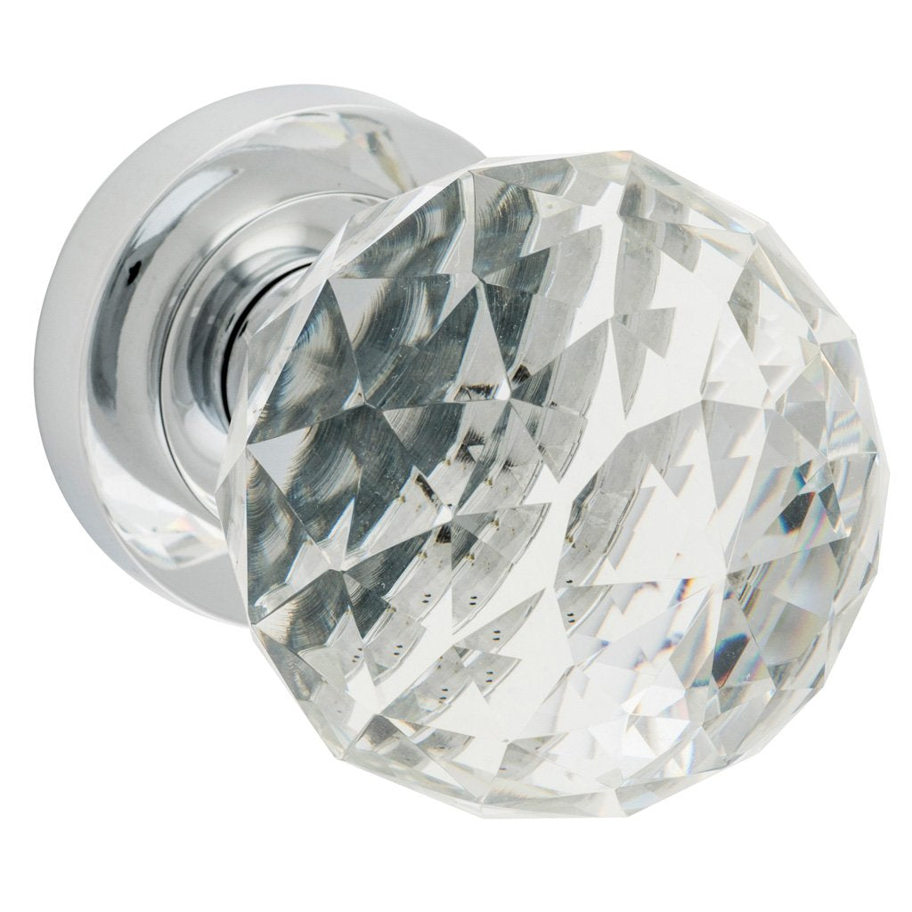 Diamond Cut Clear Glass Knob on Rose (Door Handle Set)