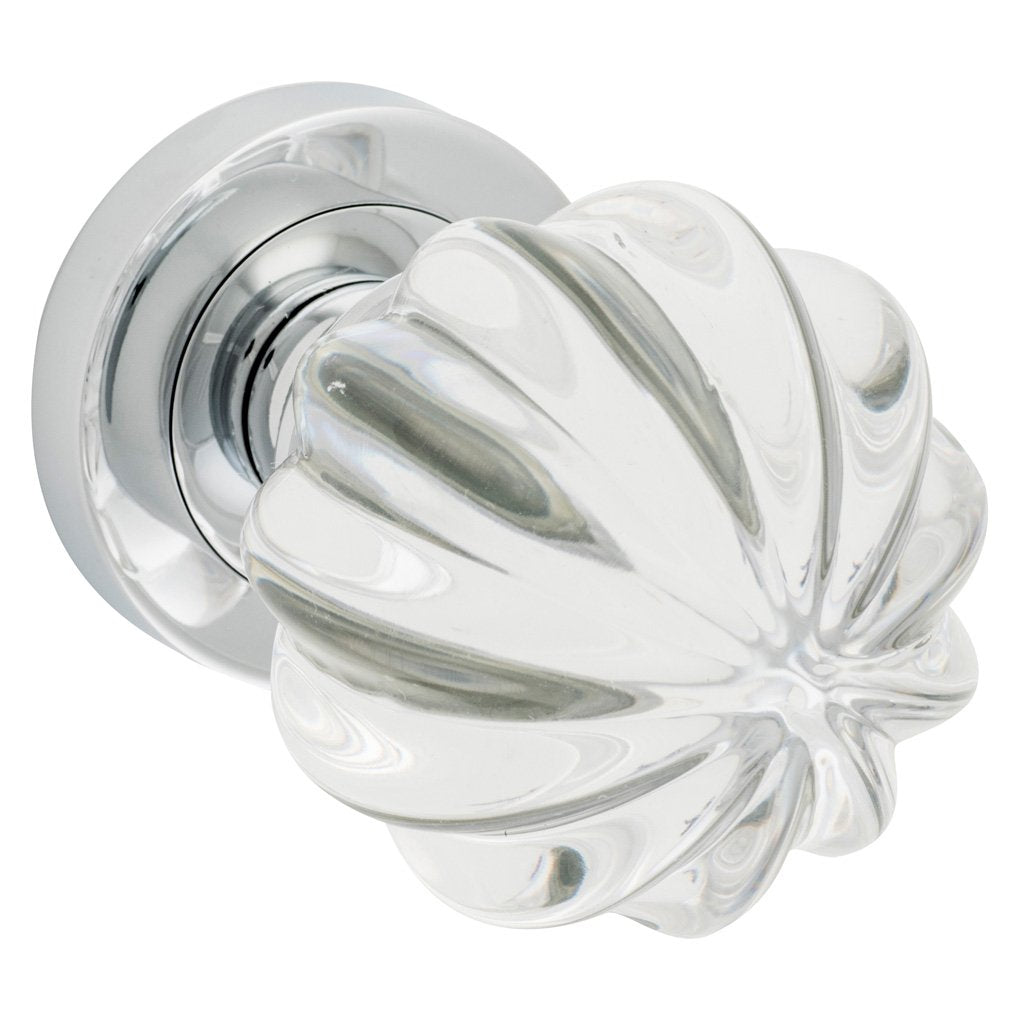 Fluted Clear Glass Knob on Rose (Door Handle Set)