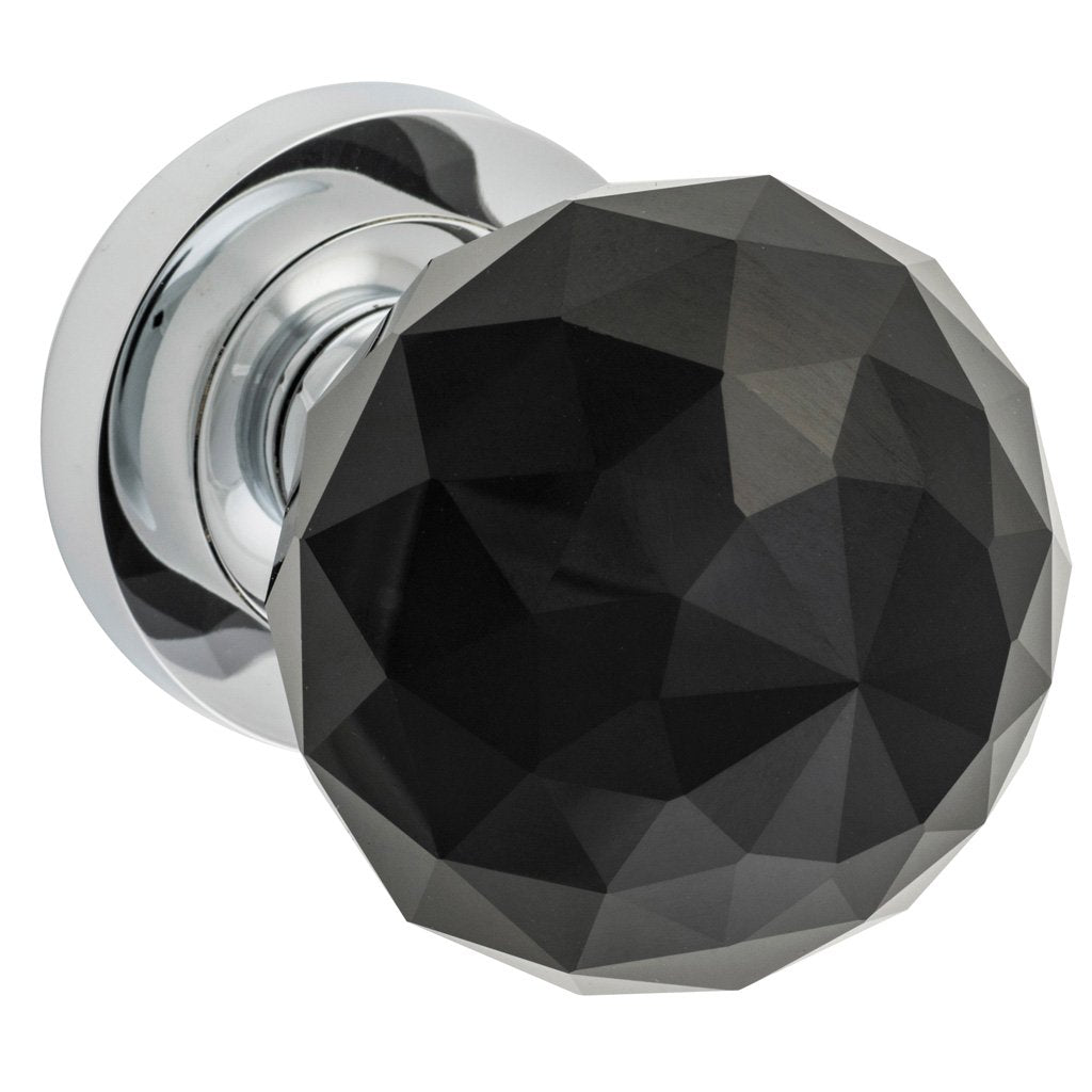 Diamond Cut Black Glass Knob on Rose (Door Handle Set)