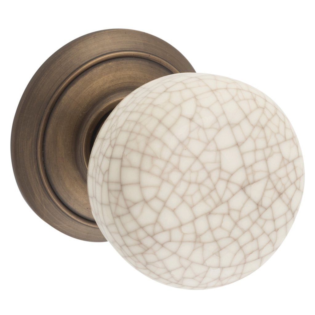 Porcelain Knob on Rose (Door Handle Set)