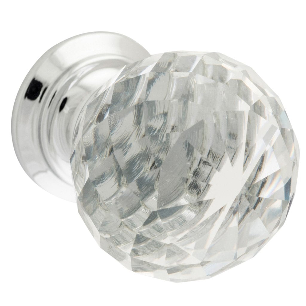 Clear Diamond Cut Glass Cabinet Knob