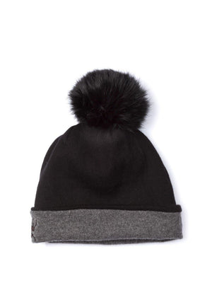 Reversible Beanie in Cashmere - Charcoal/black - TALLIS