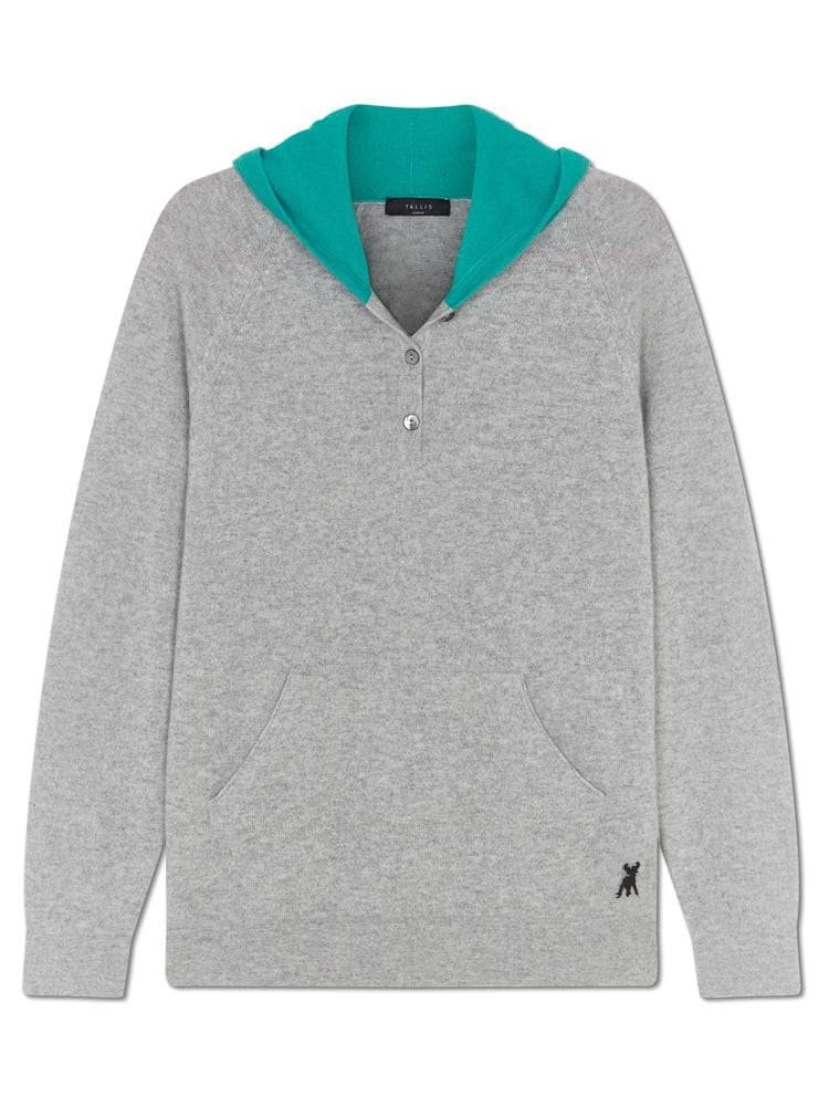 9c0ad01bbb5 Pure Cashmere Hoody - Grey turquoise