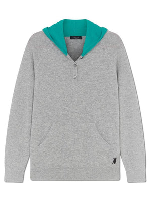 Pure Cashmere Hoody - Grey/turquoise - TALLIS